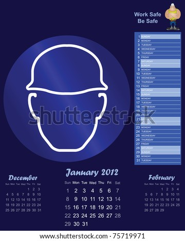 2012 calendar with health and safety theme January - stock photo