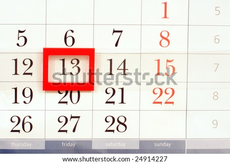 calendar with mystic date friday 13