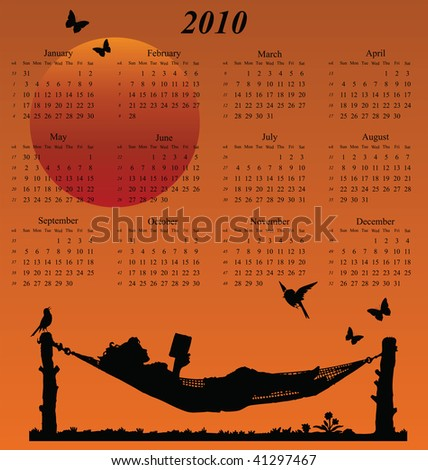 2010 calendar with woman reading in a hammock - stock photo