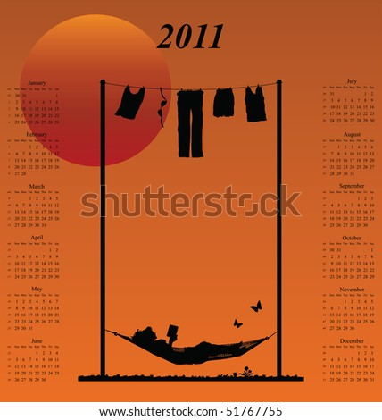 2011 calendar with woman reading in a hammock - stock photo