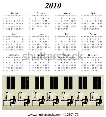 2010 calendar with working late at the office theme - stock photo