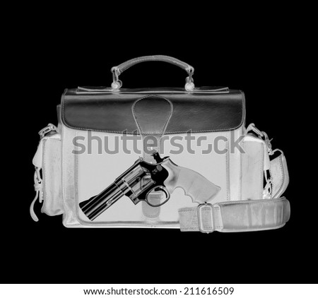 .38 Caliber Revolver Pistol Loaded Cylinder Gun Barrel Close Up Pointed on White - stock photo