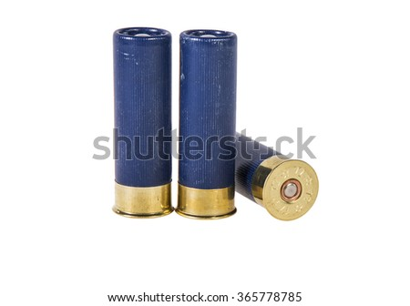 12 caliber shotgun shells used for hunting isolated on a white background - stock photo