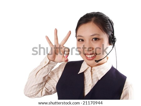 call center operator making an okey hand gesture. - stock photo