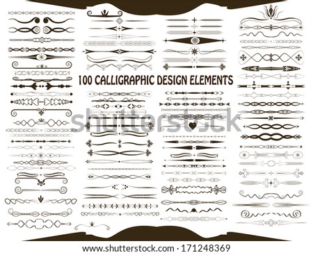 100 calligraphic design elements, raster version. Vintage style page dividers, retro elements and other decorations. - stock photo