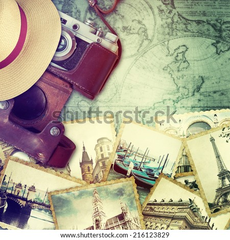 Camera and collage of old photo. Traveling concept. - stock photo