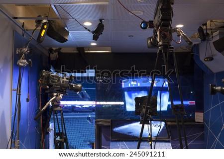 camera, TV broadcast hockey - stock photo
