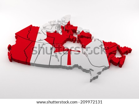 Canada map,  with flag on a white background - stock photo
