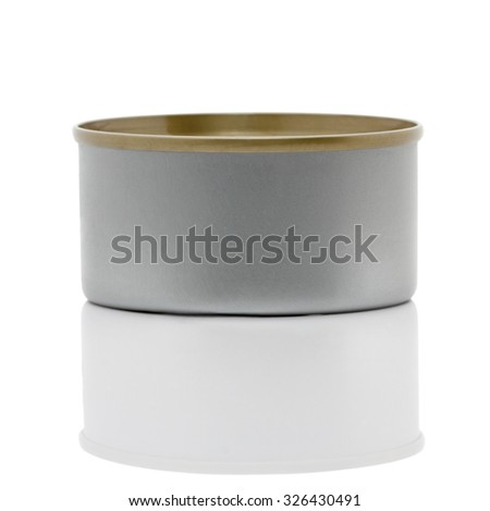 Canned food with shadow isolated on white background - stock photo