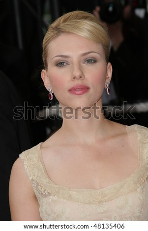 CANNES, FRANCE - MAY 12: Actress Scarlett Johansson attends the premiere of the film 'Match Point' at the Palais during the 58th International Cannes Film Festival May 12, 2005 in Cannes, France - stock photo