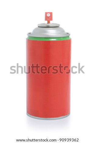 cans of red spray isolated on white background - stock photo