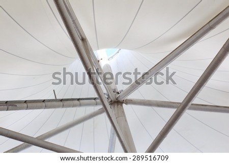 canvas roof ,fabric tensile roof structure with skylight background, steel structure