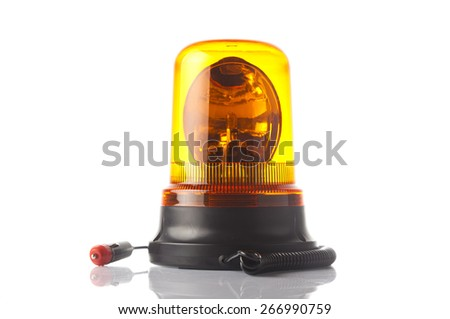 Car accessories - amber beacon flashing light on white background