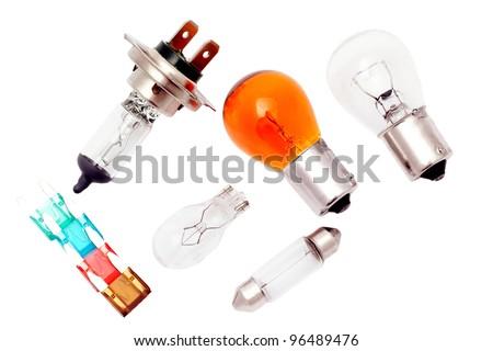 Car bulbs and fuses. - stock photo