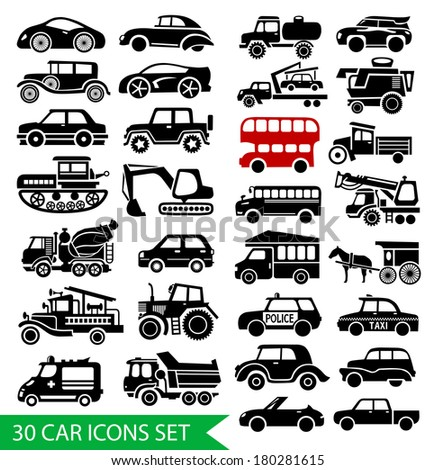 30 car icons set, black auto web pictogram collection, raster version - stock photo