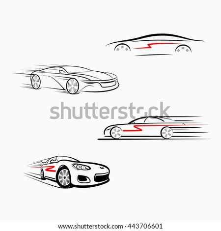 Car logo design. Car (automobile) in the form of lines of silhouette, in movement. Isolated. Black on white background.