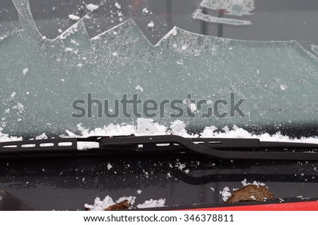car wiper with  morning frost - stock photo
