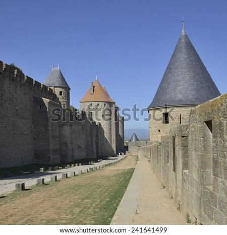 CARCASSONNE,FRANCE -SEPTEMBER 12- Tourists visiting the fortress of Carcassonne on September 12,2014 in Carcassonne