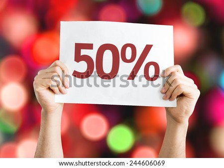 50% card with colorful background with defocused lights - stock photo