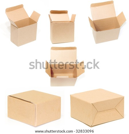 cardboard box set isolated white backround - stock photo