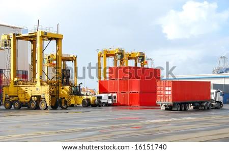 cargo cranes at the shipyard - stock photo