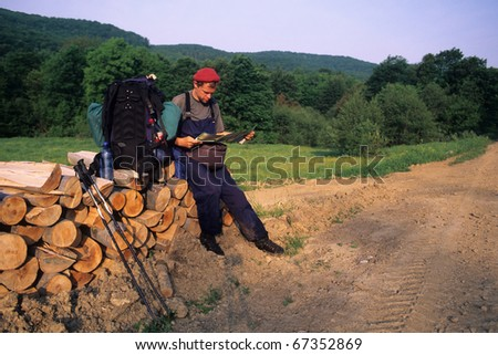 Carpathian hiker, Lower Beskid mountains, Slovakia
