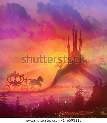 Carriage at sunset. Silhouette of a horse carriage and a medieval castle  - stock photo