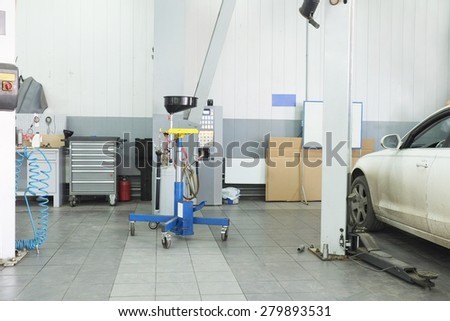 Cars in a dealer repair station in Moscow, Russia - stock photo