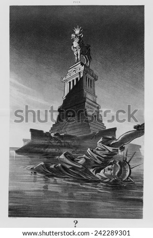 1912 cartoon attacking business greed shows the ruined Statue of Liberty floating in New York Bay. Liberty is replaced on her pedestal by a golden calf, wearing crown and collar with $ sign. - stock photo