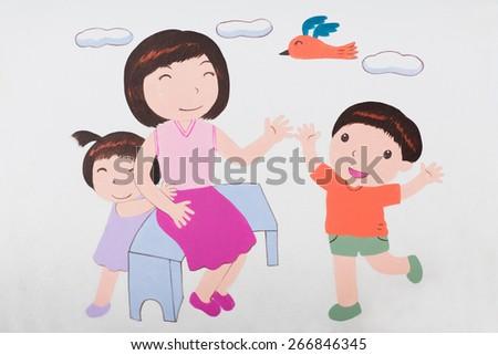 Cartoon happy family - stock photo