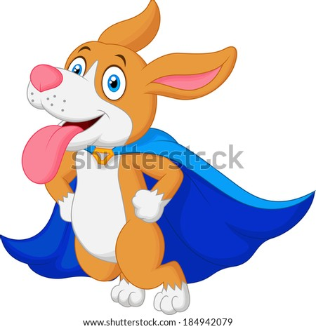 Cartoon Super Hero Dog Flying - stock photo
