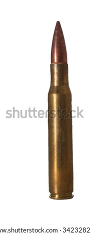 30-06 cartridge on a car roof - stock photo