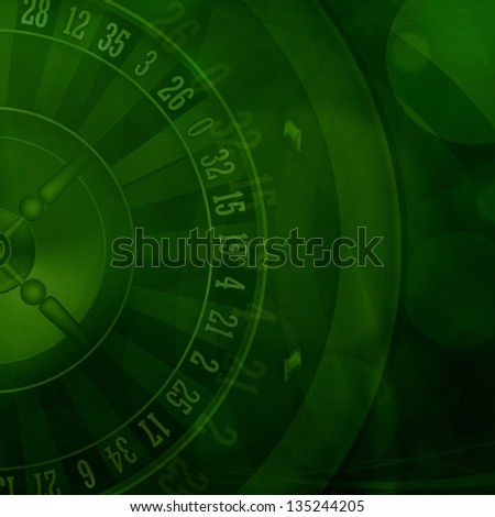 Casino roulette green background illustration - stock photo