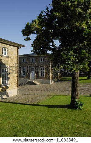 Castle Bensberg, hunting lodge hotel, castle main entrance, D-Bergisch Gladbach, Bergisches Land, North Rhine-Westphalia, Germany - stock photo