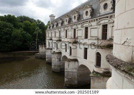 Castle of Chenonceau. Known as the castle of the ladies was built in 1513  and is one of the most visited in the Loire Valley.  - stock photo