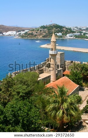 Castle of Saint Peter. Museum underwater archeology in Bodrum - stock photo