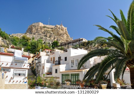 Castle of Santa Barbara from Santa Cruz neighborhood, Alicante (Spain) - stock photo