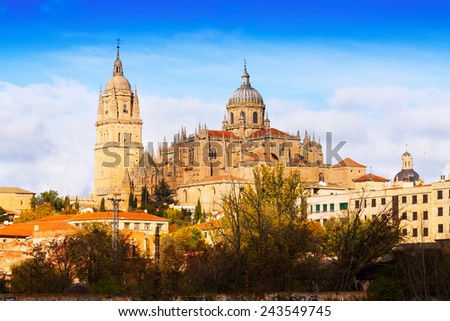 Cathedral of Salamanca in  autumn day. Castile and Leon, Spain