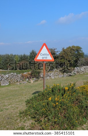 """""""Cattle Grid"""" Road Sign on Gidleigh Common, near the Rural Town of Chagford, within Dartmoor National Park, Devon, England, UK - stock photo"""