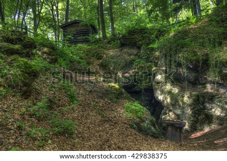 Cave in the forest of Sljeme in Zagreb  - stock photo