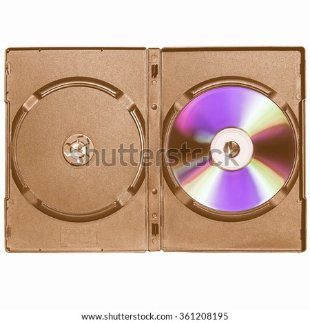 CD or DVD case, for music data video recording support - isolated over white background vintage - stock photo