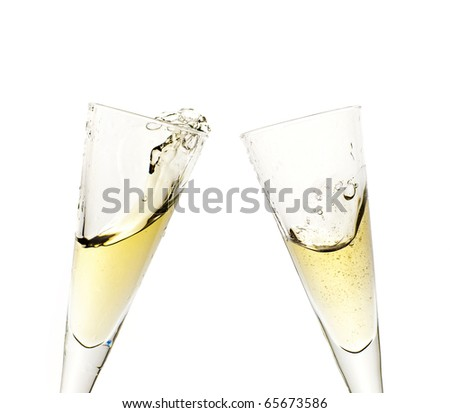 Celebration toast with champagne isolated on white - stock photo