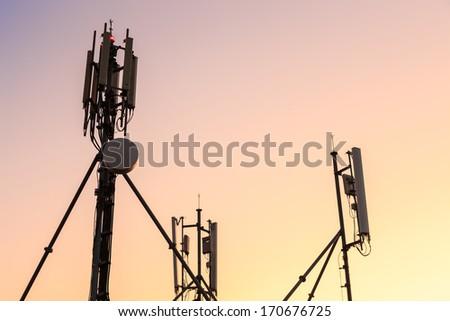 cellular antenna broadcast station - stock photo