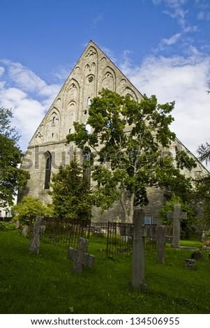 Cemetery, St. Brigitta convent ruins, Pirita, Tallinn, Estonia  - stock photo