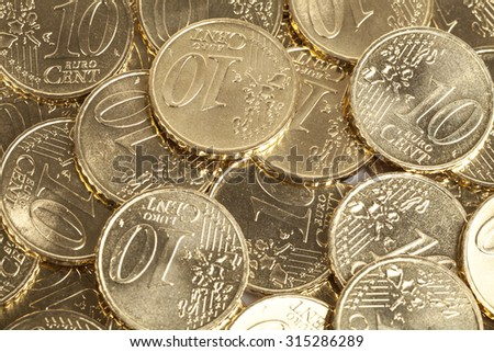 10 Cent coins background - stock photo