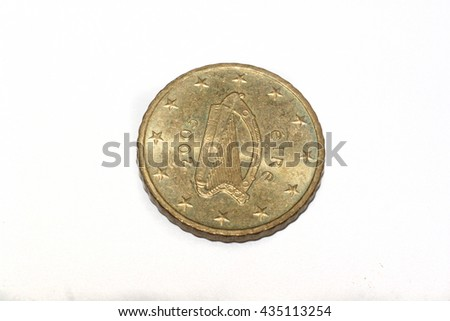50 Cent Euro Coin Depiction Harp Stock Photo Royalty Free