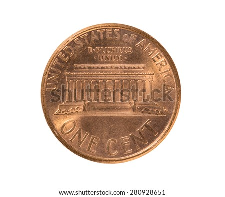 1 Cent United States coin  1999 tail - stock photo