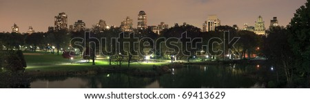 Central Park in NYC taken at night. - stock photo