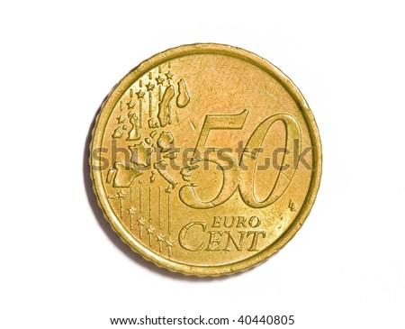 50 cents euro coin - stock photo