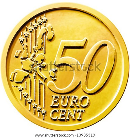 50 cents of euro coin - stock photo